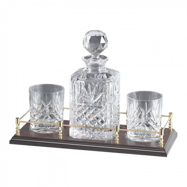 crystal and brass whisky decanter and 2 glass set. Black Bedroom Furniture Sets. Home Design Ideas