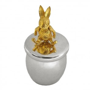 Sterling Silver And Gold Plated Rabbit Keepsake Box