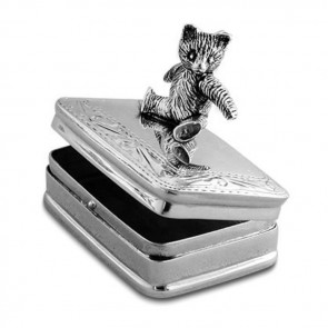 Sterling Silver Movable Teddy Bear Box