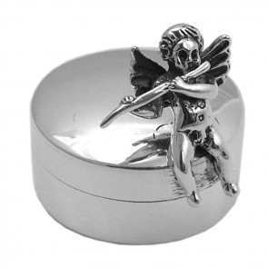 Sterling Silver Fairy With Flute Pill Box