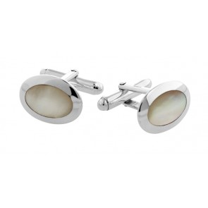 Sterling Silver Oval Dome Mother Of Pearl Cufflinks