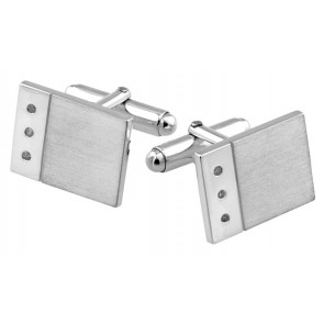 Sterling Silver Diamond 3 Stone Rectangular Cufflinks