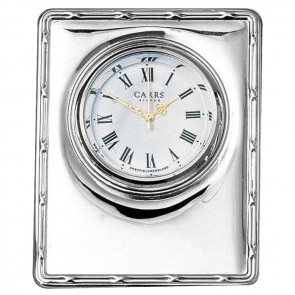 Sterling Silver Simple Mini Clock With Velvet Back
