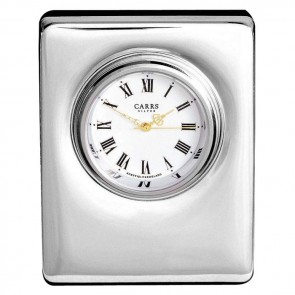 Sterling Silver Simple Style Mini Clock With Velvet Back