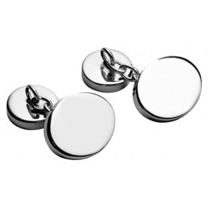 Sterling Silver Plain Oval With Chain Cufflinks