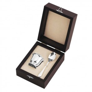Sterling Silver Egg Cup And Spoon In Presentation Case