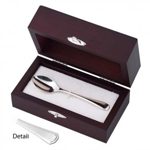 Sterling Silver Grecian Coffee Or Child's Spoon In Presentation Case