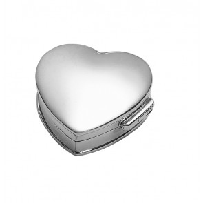 Sterling Silver Heart Shaped Plain Pill Box