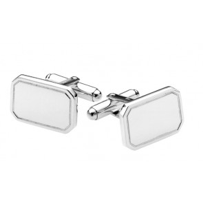 Sterling Silver Rectangle Coined Edge Cufflinks