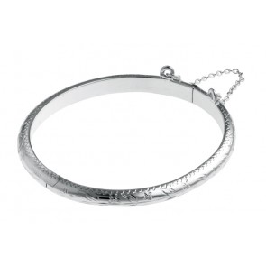Sterling Silver Floral Engraved Large Baby Bangle
