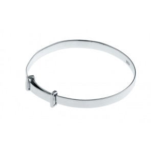 Sterling Silver Plain Adjustable Baby Bangle
