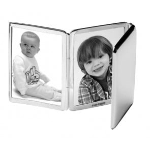 Sterling Silver Three Photo 5X4cm Plain Folding Photo Frame