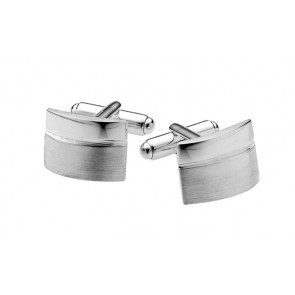 Sterling Silver Two Tone Finish Convex Cufflinks