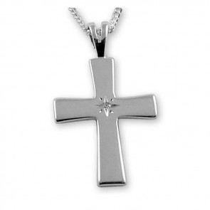 Sterling Silver With Diamond Cross Necklace