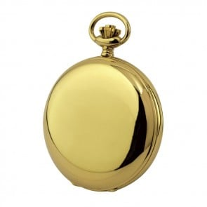 Simple Gold Plated French Spring Wound Pocket Watch With Chain