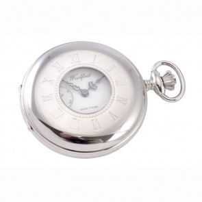 Chrome French Spring Wound Pocket Watch And Chain
