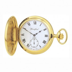 Gold Plated Swiss Unitas Movement Simple Pocket Watch With Chain