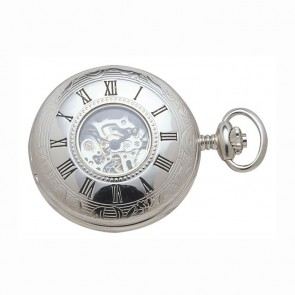 Chrome Spring Wound Pocket Watch And Chain