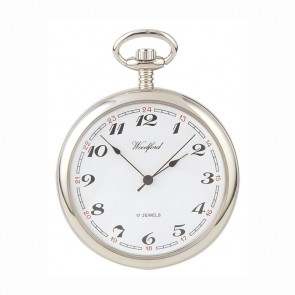 Chrome Moondial Spring Wound Pocket Watch With Chain
