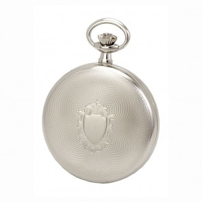 Chrome Spring Wound Dotted Patterned Pocket Watch With Chain