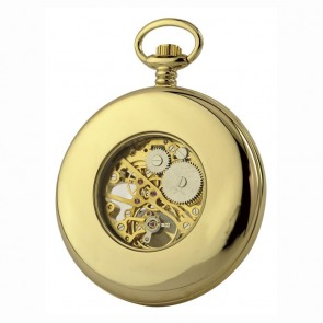 Gold Plated Spring Wound Plain Pocket Watch With Chain