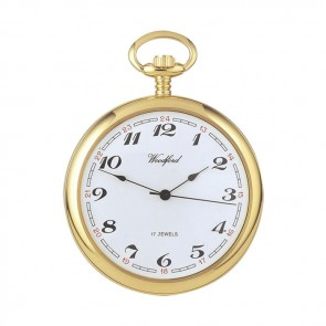 Gold Plated Spring Wound Simple Pocket Watch With Chain