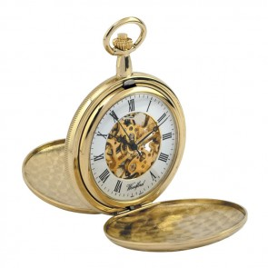 Gold Plated Spring Wound Decorative Pocket Watch With Chain