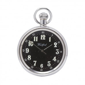 Chrome Black Face Spring Wound Pocket Watch With Chain