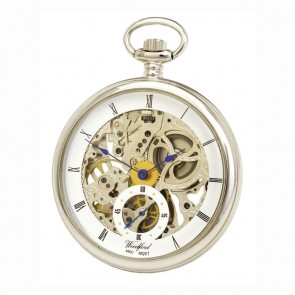 Chrome French Spring Wound Skeleton Pocket Watch With Chain