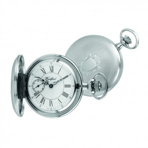 Chrome Full Hunter Swiss Mechanical Movement Pocket Watch With Chain