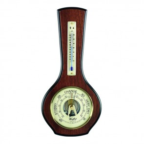 Bottle Shaped Veneered Barometer And Thermometer