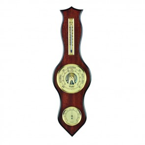 Waved Veneered Barometer Thermometer And Hygrometer