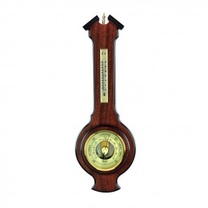 Simple Veneered Barometer And Thermometer
