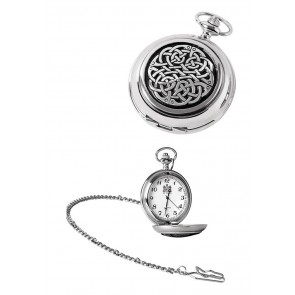 Chrome Celtic Knot Quartz Pocket Watch And Chain