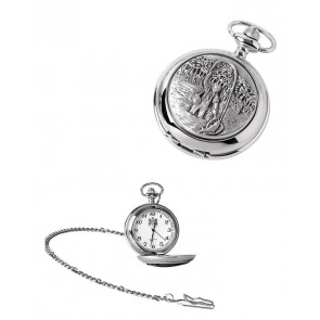 Chrome Fisherman Quartz Pocket Watch With Chain