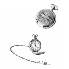 Chrome Spitfire Quartz Pocket Watch With Chain