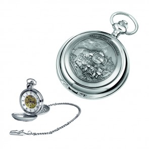 Chrome Train Spring Wound Skeleton Pocket Watch With Chain