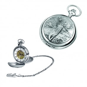 Chrome Stag Spring Wound Skeleton Pocket Watch With Chain