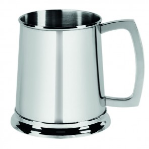 Stainless Steel 1 Pint Glass Bottom Tankard