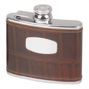 Stainless Steel Antique Crocodile Style Flask 11cl