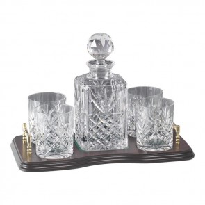 Crystal And Brass Whisky Decanter And 4 Glass Set