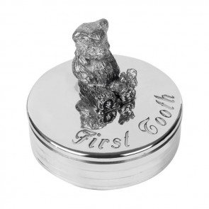 Pewter Teddy Bear First Tooth Box