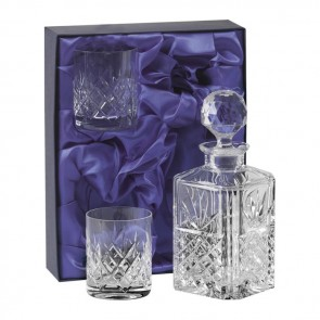 Crystal Spirit Decanter Set With Two Tumblers