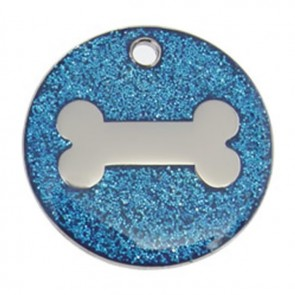 Dark Blue Bone Glitter Dog Pet Tag