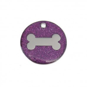 Purple Bone Glitter Dog Pet Tag