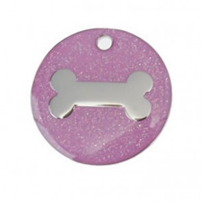 Pink Bone Glitter Dog Pet Tag