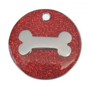 Red Bone Glitter Dog Pet Tag