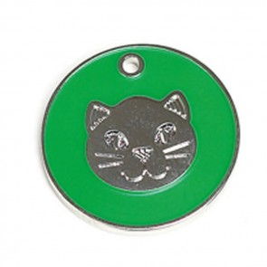 Green Cat Pet Tag