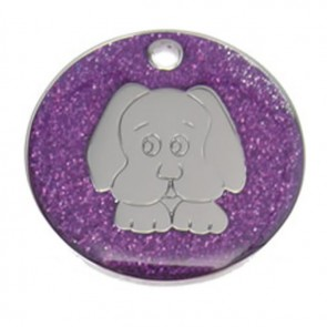Purple Dog Glitter Dog Pet Tag
