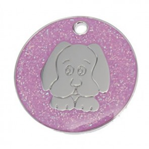 Pink Dog Glitter Dog Pet Tag